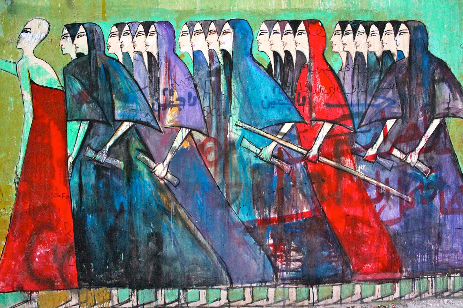Alaa Awad - Mural - Marching Women -Cairo - 2012