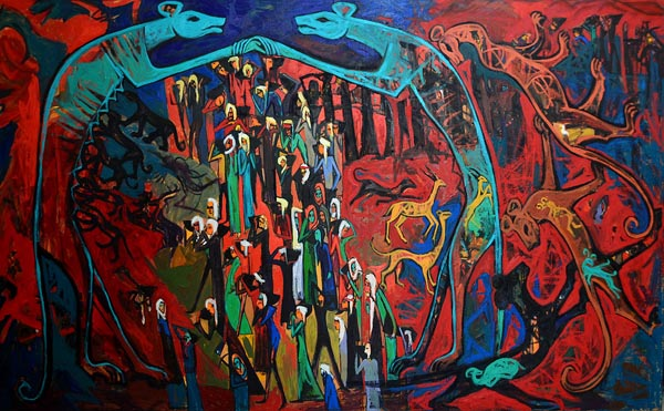 The workers 2014-18, oil on Canvas, 240 x 150 cm.