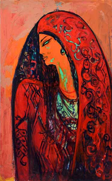 Alaa Awad - The Red Scarf 2018 - Oil on canvas, 50 cm x 80 cm - Privet collection