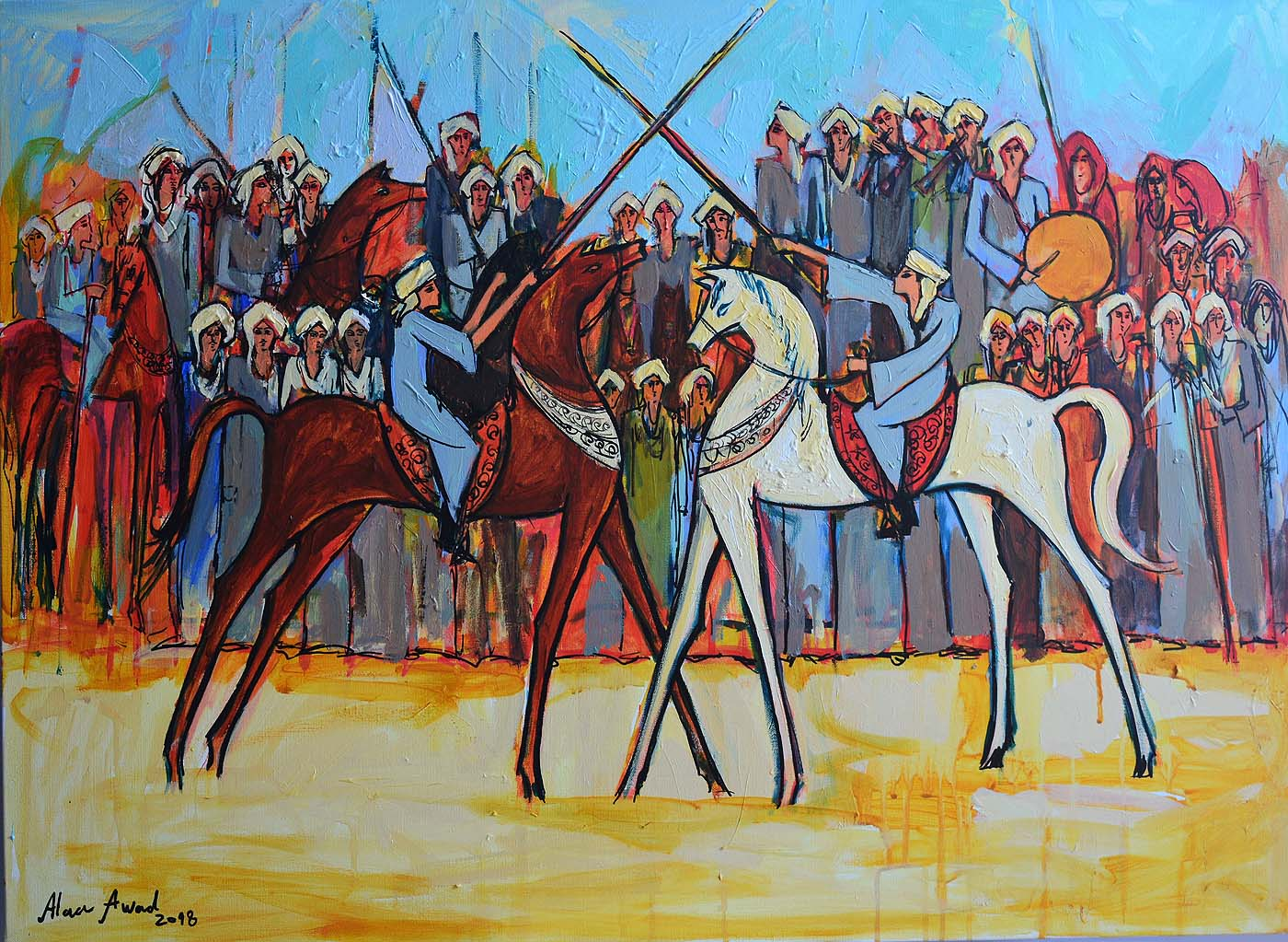 The fencing Elmermah, 100 x 70 cm, Acrylic on canvas, 2018
