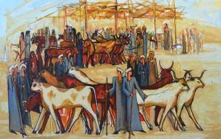 Alaa Awad painting- The Cattle Market - Oil on Canvas, 180x140 cm, 2018