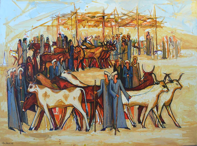 Alaa Awad painting- The Cattle Market - Oil on Canvas, 180x140 cm, 2018