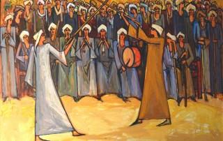 Alaa Awad painting - Eltahtib - Oil on Canvas, 90x70 cm, 2017