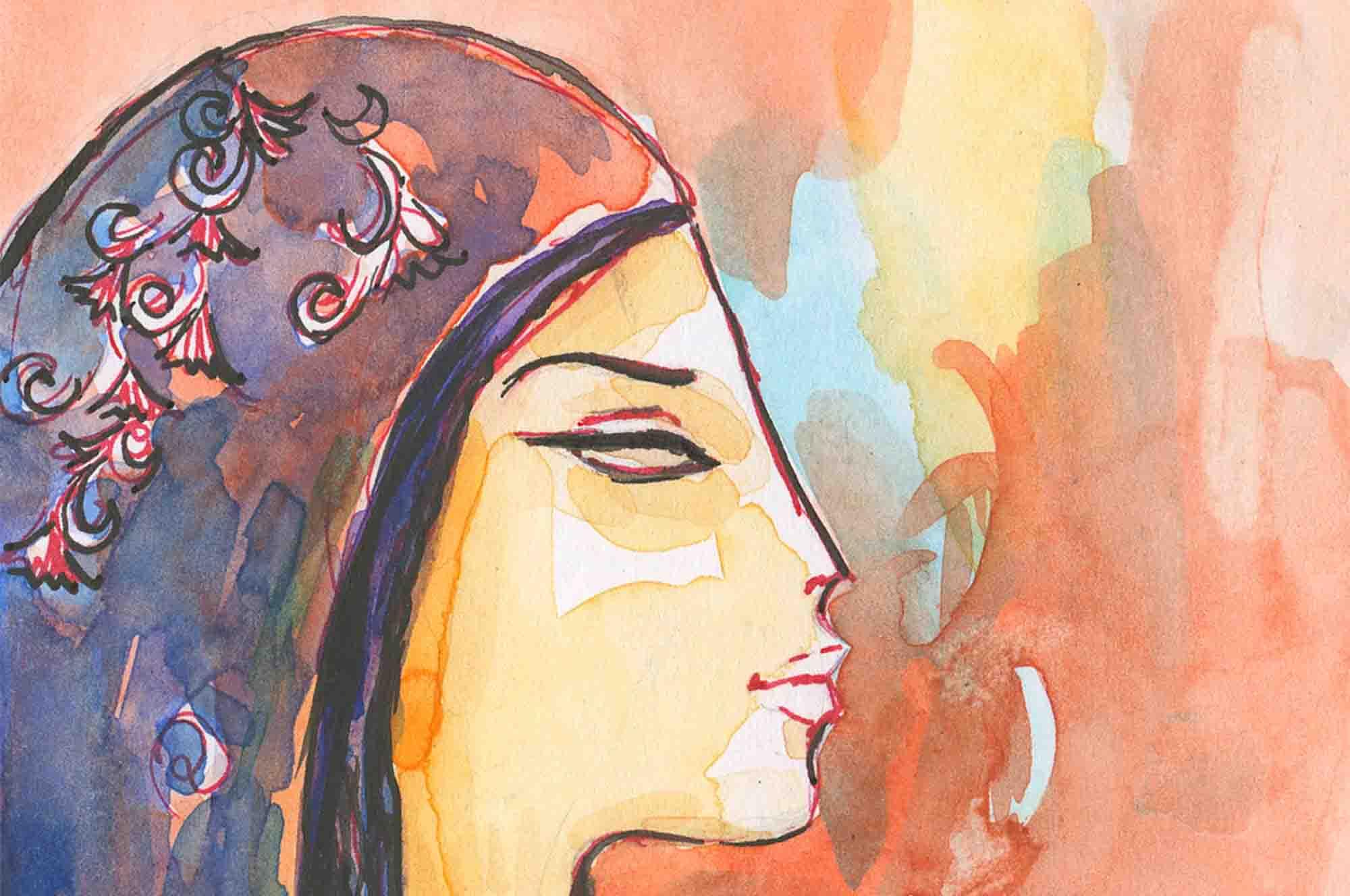 Alaa Awad - painting - Postcard