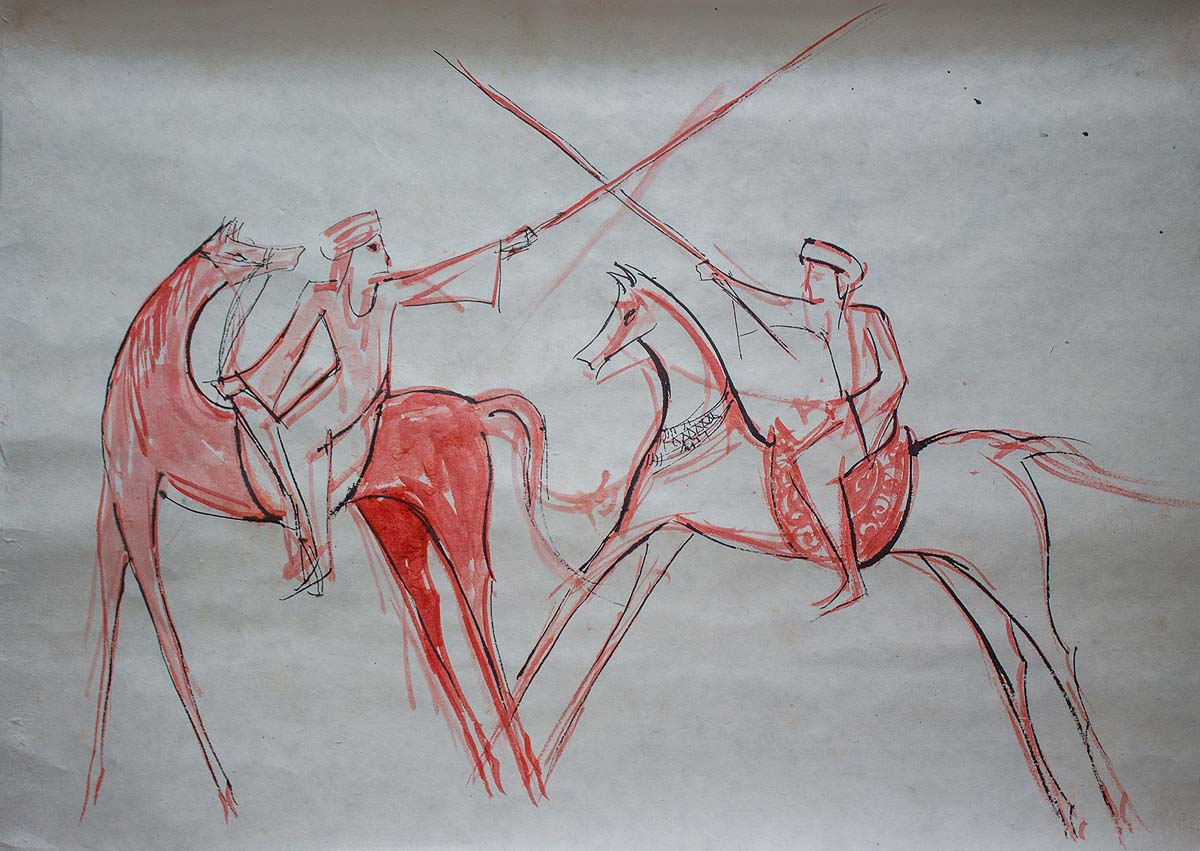 Fencing 2019 Chinese Ink on rice paper 50 x 70 cm