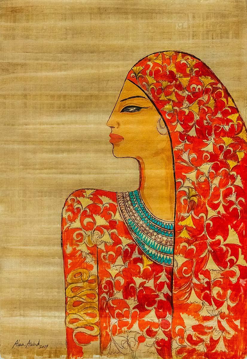 alaa awad - the artist - علاء عوض - painting on Papyrus