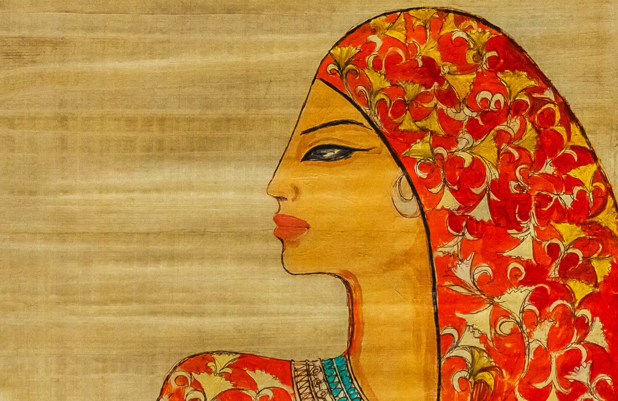 alaa awad - the artist - علاء عوض - painting on Papyrus